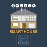 Hogar elegante Concepto plano del ejemplo del estilo del diseño de sistema elegante de la tecnología de la casa con control centr Fotografía de archivo
