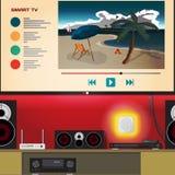 Hogar elegante TV Sala de estar con el sistema del teatro casero controlado Foto de archivo