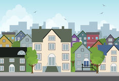Hogar en la ciudad. ilustración del vector