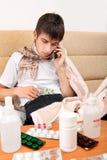 Hogar enfermo del adolescente Imagen de archivo libre de regalías