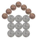 Hogar hecho de monedas americanas foto de archivo