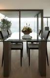 Hogar interior, mesa de comedor moderna Imagen de archivo libre de regalías