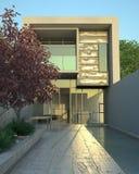 Hogar moderno de lujo con la piscina Imagenes de archivo