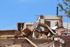 Hogar no tan dulce del hogar del daño del tornado imagenes de archivo