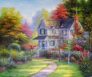 Hogar original de la pintura al óleo Fotos de archivo