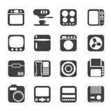 Hogar y oficina, iconos de la silueta del equipo Fotografía de archivo