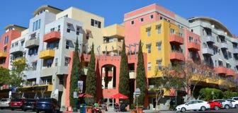 Hogares coloridos en poca Italia San Diego Imágenes de archivo libres de regalías
