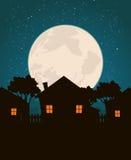 Hogares en el claro de luna ilustración del vector