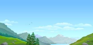 Hoge berg en groene vallei Royalty-vrije Stock Afbeeldingen