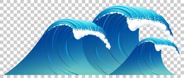 Hoge blauwe geïsoleerde golf met wit schuim Duidelijk water op transparante achtergrond stock afbeeldingen