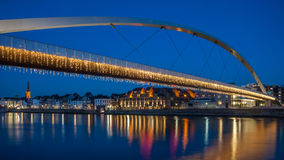 Hoge Brug in Maastricht, The Netherlands. View on the Hoge Brug decorated with lights in Maastricht, The Netherlands Royalty Free Stock Photography