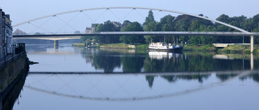 Hoge Brug suspension bridge crossing the River Meuse Maastricht Stock Photo