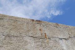 Hoge concrete muur met blauwe hemel op de bovenkant, geen vlucht royalty-vrije stock afbeelding