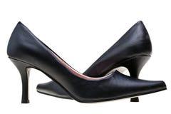 Hoge de zwarte van dames hielt geïsoleerdeo schoenen royalty-vrije stock afbeeldingen