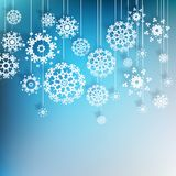 Hoge definitiesneeuwvlokken op blauw. EPS 10 Royalty-vrije Stock Afbeeldingen