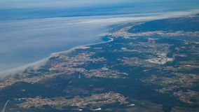 Hoge die hoogteantenne van vliegtuig over het district van Viana do Castelo in Portugal wordt geschoten royalty-vrije stock foto's