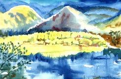 Hoge en mooie bergen in bloei Hun gedachtengang glanst in het meer vector illustratie