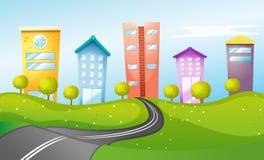 Hoge gebouwen in de stad Stock Foto