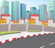 Hoge gebouwen dichtbij de straat stock illustratie