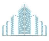 Hoge gebouwen, woonhuis, huurkazernes, flatblokken, flats, stadsmening in overzichtsstijl Vector stock illustratie