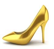 Hoge hiel gouden schoen stock illustratie