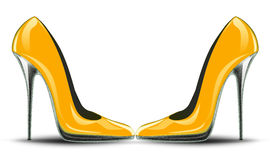 Hoge hielen gele schoenen Stock Illustratie