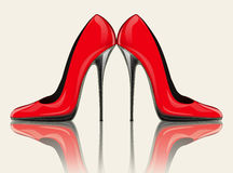 Hoge hielen rode schoenen Royalty-vrije Illustratie