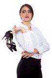 Hoge Hielschoenen weg op kantoor - Succesvolle Jonge onderneemster - Voorraadbeeld Royalty-vrije Stock Foto's