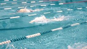 Hoge hoek drie zwemmers die de concurrentie in zwembad volgend schot hebben stock video