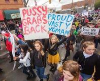 Hoge hoekmening over Vrouwen ` s Maart in Tucson Royalty-vrije Stock Fotografie