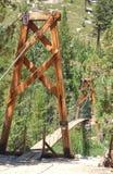 Hoge hoogtehangbrug stock foto's