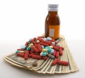 Hoge kosten van medische rekeningen, etiket voor ingang stock foto's