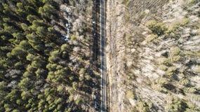 Hoge luchthommelmening van een spoorweg over de de lente bos Landelijke plaatsen royalty-vrije stock foto