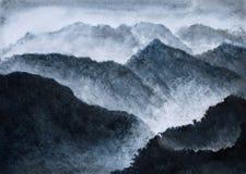 Hoge nevelige bergen Royalty-vrije Stock Foto's
