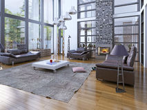 Hoge plafondswoonkamer met open haard Royalty-vrije Stock Foto's