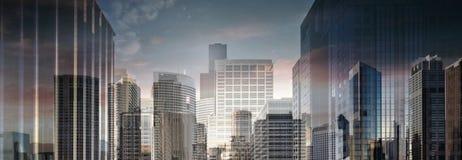 Hoge Resolutie Abstracte Commerciële Stad Stock Foto