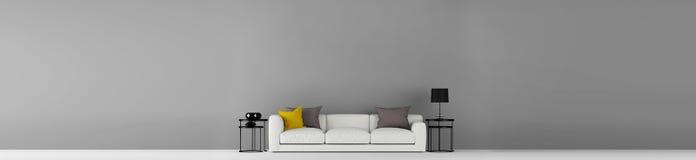 Hoge resolutie wijd grijze lege muur met meubilair 3d illustratie Stock Afbeeldingen