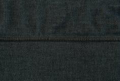 De Textuur van de Stof van het denim - Donkergrijs met Naden Stock Afbeelding