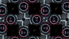 Hoge resolutielengte van futuristische interface Interessante abstracte digitale achtergrond Knipperende en schakelende indicator stock footage