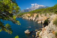 Hoge rotsachtige kust Royalty-vrije Stock Afbeeldingen