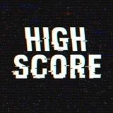 Hoge Scoreglitch tekst Anaglyph 3D effect Technologische retro achtergrond Vector illustratie Het creatieve malplaatje van het We Stock Afbeelding