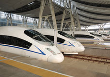 Hoge snelheid ââRail, het Station van Peking Stock Foto