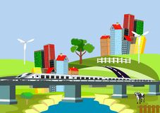 Hoge snelheidstrein op de brug over de rivier, cityscape stock illustratie