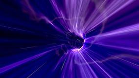 Hoge snelheidsvlucht door een Purpere Wormhole in Kosmische ruimte stock video