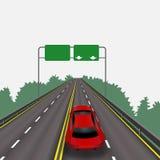 Hoge snelheidsweg in perspectief Rode auto Geïsoleerdj op witte achtergrond Informatietekens Abstract landschap Stock Afbeeldingen