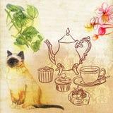 Hoge Thee en de Engelse Illustratie van het Tuin Uitstekende Kleurpotlood Royalty-vrije Stock Afbeeldingen