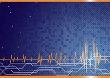 Hoge vector - technologieachtergrond in blauwe kleur Stock Afbeeldingen