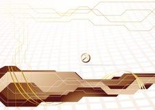 Hoge vector - technologiemalplaatje in gouden kleur Royalty-vrije Stock Afbeeldingen