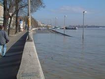 Hoge vloed in Boedapest Stock Afbeelding