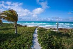 Hoge winden en golven op het strand in Cayo Santa Maria, Cuba stock fotografie